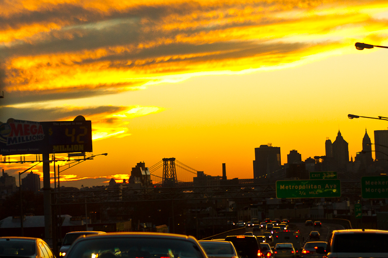 Brooklyn Queens Expressway at Sunset
