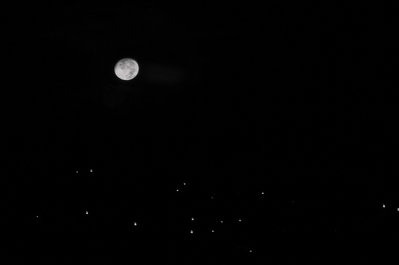 Moonset in Black and White